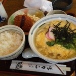 麺どころ いづみ - とじうどん定食(780円)(2014.1)