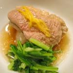 日本料理 太月 - 炊き合せ 合鴨治部煮 聖護院大根、壬生菜