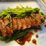 割烹 やました - 青首カモのたたき ほんのりアジアの味がする味付けになってました