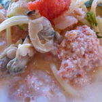 アンジェロ ピノ - 魚介と野菜の明太クリ-ムスープスパゲッティ ランチセット¥1000