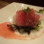 23647261 - 魚介のサラダ、イチゴドレッシング添え