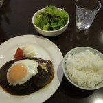 洋食 葉椰子 - デミグラスハンバーグのランチセット 1050円