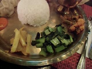 ラクシュミー - バスマティライス、オクラの炒め物、小松菜サブジ、ムラクアチャ-ル