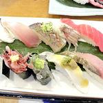 沼津魚がし鮨 - 近海握10貫ランチセット 1480円(タイムサービス) 2014.1