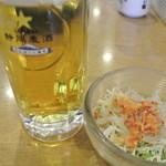 沼津魚がし鮨 - 地ビール 静岡麦酒とセットのサラダ 2014.1