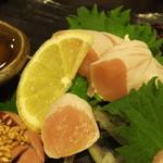 地鶏居酒屋 ぼんじり - 地鶏お造り盛り合わせ:1250円('14.01月にて)