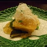 23703912 - ☆先付けは貝柱と菜の花・椎茸のジュレ掛け☆