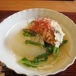ふじ義 - 炊合せ 聖護院大根と鰆の霰揚げ、九条葱餡かけ