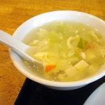 翠鮮楼 - 「揚げ豆腐炒め定食(日替り)」玉子スープ