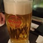 中国料理 桃翠 - まずはオリオンの生ビールで乾杯。