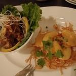 中国料理 桃翠 - 海老のマヨネーズと,       若鶏の唐揚げユーリンソース