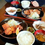 和やか亭 - 料理写真:唐揚げ定食と生姜焼き定食