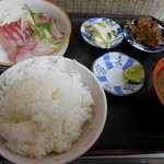 もみじや - 850えん『かんぱち刺身定食』2014.1