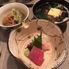 兎夢 - 料理写真:2014.1月再訪★二段弁当 2100円 お造り、椀、ひりゅうず  ステーキ御膳にも同じものが付きます