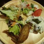 旬菜食健 ひな野 - 壱の皿・・・手羽先、グラタン、サラダ、白菜中華風