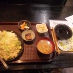 侍 - レタス炒飯定食とざるうどん