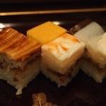 吉野鯗 - 箱寿司(穴子、海老と厚焼き玉子、小鯛)