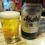 揚匠 しげ盛 - 瓶ビールはキリンのクラシックラガーか一番搾り、アサヒのスーパードライが選べます