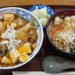 江戸家 - 半麻婆丼+半蕎麦セット480円