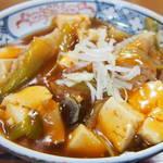 江戸家 - 半麻婆丼+半蕎麦セット480円の麻婆丼アップ