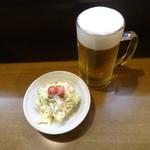 梅暦酒店 - 生ビールとポテトサラダ