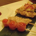 kocoroya - 串焼き盛り合わせ(トマころっベーコン焼、もちチーズベーコン、ささみ昆布焼、豚トロ炙り焼)