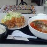 23840130 - ランチ 唐揚定食(坦坦麺にグレードアップ) 辛さ5