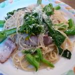 ドン・キホーテ - アスパラ菜とベーコンのペペロンチーノ 600円