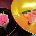 日本料理 対い鶴 - 縞鯵引造り、鰤焼霜造り