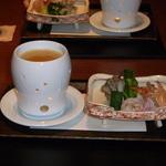 旅邸 諧暢楼 - 料理写真:先付(車海老 芹 白菜 舞茸 エシャロットの温ソース)