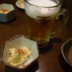 天武 - 生ビール(ザ・プレミアム・モルツ)500円とお通し