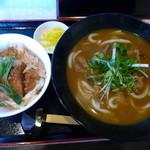 荒木伝次郎 - ひやあつカレーうどん&ミニかつ丼(H26.1.24)