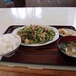 はとば食堂 - ゴーヤーちゃんぷる定食600円