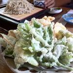 23904261 - 阿蘇野菜の天ぷらは季節の野菜や山菜が山盛り。甘みがあってとってもおいしい。ざるのときは別注だけどかけそばには小さな野菜天の小鉢がついてくるのでうれしいです。