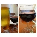 23907755 - 「赤ワイン」はセットに込ですが、ビールは210円加算されます。