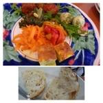 23907756 - 前菜盛り合わせ+パン・・ボリュームがありますね。                         人参のマリネ(美味しいですよ)・ミートボール・カツオ菜など。