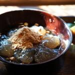 喫茶去かつて - わらびもち、黒蜜ときな粉掛け(2014.1.24)