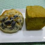 リール ブーランジェリー - 2013年1月お友達に、頂きました!黒豆大福パンと抹茶栗あんのパン(右)