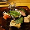 食 - 料理写真:根菜とひじきのカクテル、能登牡蠣葡萄オイル漬け他5点のオードブル(2014.1.24)