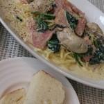 トラットリアロゼッタ - ランチ パスタ 牡蠣とほうれんそうのクリームソース