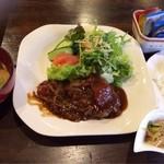 glass - 手づくりハンバーグデミソース ドリンク・サラダ・小鉢・みそ汁・ミニデザート付 780円!