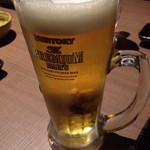 あぶらや - 生ビール中プレミアムモルツ!