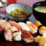 宝生寿し - 料理写真:Aランチ(上にぎり9貫+お吸物+醤油アイス+一品)