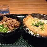 Hanamaruudon - 牛肉ごはんセット、キツネうどん500円