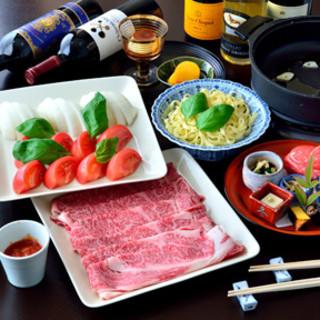 話題の名物トマトすき焼き<登録商標>プレミアム松阪牛コースも