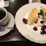 朝日珈琲サロン - フルフルシフォンケーキのドリンクセット@850円