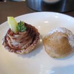 カフェ バジル - プチモンブランのタルト 、ソイモカシュークリーム
