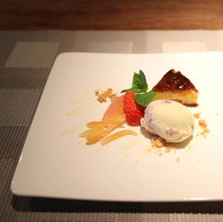 Cucina Italiana 東洞 - ドルチェ:ミックスベリーのジェラートとアプリコットのタルト