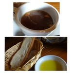 レストランITOSHIMA - コンソメスープ・・家庭的なお味ですね。パン・ライスは無料で追加できます。