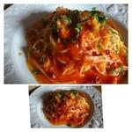 レストランITOSHIMA - この日のパスタは「アラビアータ」でした。辛みは控えめで優しいトマトソースです。 麺が少し茹ですぎなのが残念かも。